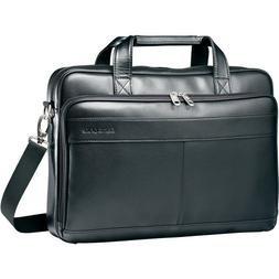 "Samsonite Leather Slim Brief Case, 2-1/2""x15-3/4 x11-3/5, Bl"