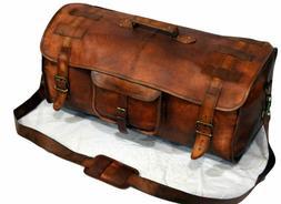 Leather travel luggage overnight weekend duffel Gym Bag men