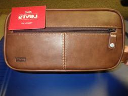 Levis Brown Leather Men's Travel Kit Top Zip Carrying Luggag