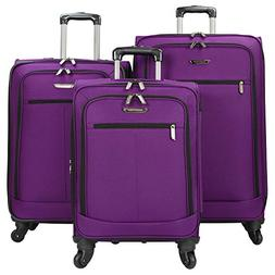 Lightweight 3 Piece Luggage Set Color: Purple
