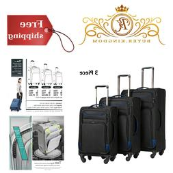 lightweight ergonomic luggage spinner softshell suitcase bla