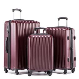 expandable 3 pieces luggage sets hardshell luggage set tsa l