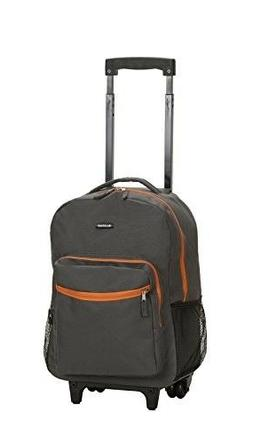 Rockland Luggage 17 Inch Rolling Backpack, Charcoal, One Siz