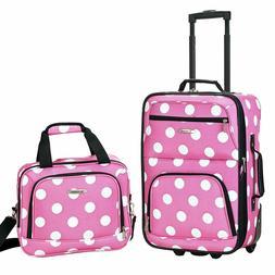 2 Piece Printed Luggage Set Pink Dot Medium Carry On Wheeled