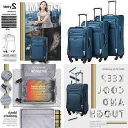 Luggage 3 PC Set Suitcase Spinner Softshell Lightweight BLUE