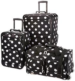 Rockland Luggage 3 Piece Printed Luggage Set, Black Dot, Med