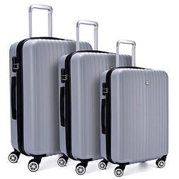 Luggage 3 Piece set Lightweight Hardshell with Spinner ABS D