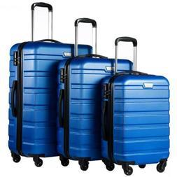 Coolife Luggage 3 Piece Set Suitcase Spinner Hardshell Light
