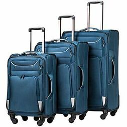 Coolife Luggage 3 Piece Set Suitcase Spinner Softshell