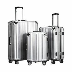 Coolife Luggage Aluminium Frame Suitcase 3 Piece Set with TS