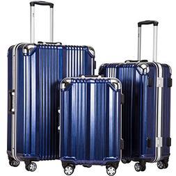 Coolife Luggage Aluminium Frame Suitcase 3 Piece Set with TS