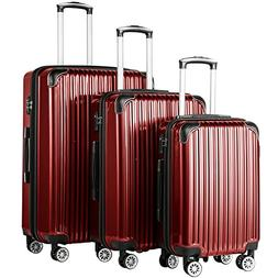Coolife Luggage Expandable 3 Piece Sets PC+ABS Spinner Suitc
