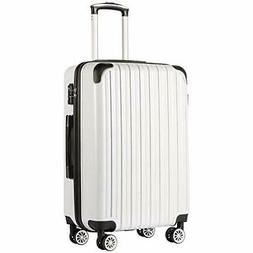 COOLIFE Luggage Expandable Suitcase PC+ABS M white grid new