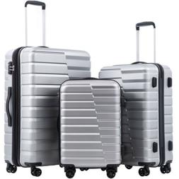 COOLIFE Luggage Expandable Suitcase PC+ABS 3 Piece Set 3 pie