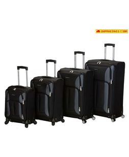 Rockland Luggage Impact Spinner 4 Piece Luggage Set, Black,