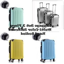 Luggage Set 3 Piece Multi-Color Suitcase Hard Bodied