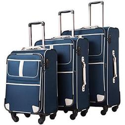Coolife Luggage Sets 3 Piece Suitcase TSA Lock Pinner Softsh
