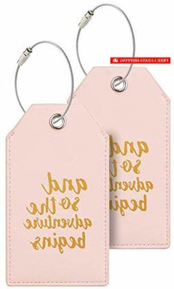 Casmonal Luggage Tags with Full Back Privacy Cover w/Steel L