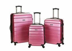 Rockland Melbourne 360 Degree Spinner 3 Pc Luggage Set - Pin