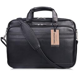 Jack & Chris Men Genuine Leather Briefcase Messenger Bag Att