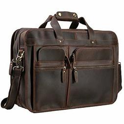 """Polare Men's 17"""" Full Grain Leather Messenger Bag for Laptop"""