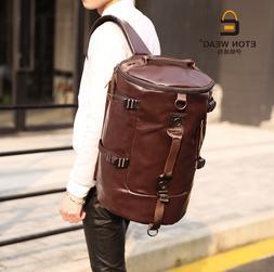 Men Large Travel Duffle Gym Luggage Bag Leather Backpack Sho