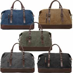 Men's Vintage Military Canvas Leather Travel Duffle Bag Shou