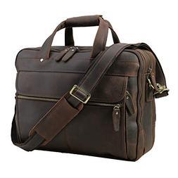"Polare Men's Thick Full Grain Leather 15.7"" Laptop Business"