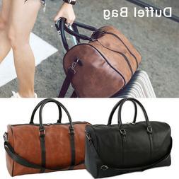 Men Women Leather Outdoor Gym Duffel Bag Travel Weekender Ov