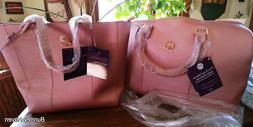 Joy Mangano Metallic Leather Weekender Bag & Tote Set Rose Q