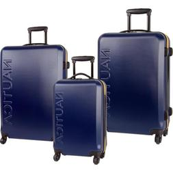 NAUTICA AHOY HARDSIDE SPINNER 3 PIECE LUGGAGE SET ORANGE SIL