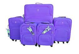 New 5 Pcs Nested Luggage Travel Set Purple Color Telescope H