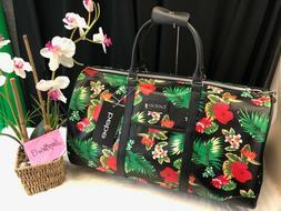 NEW!  BEBE Aria Tropical Floral Black Weekender Carry On Duf