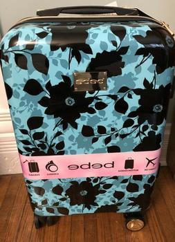 New BEBE Harper Teal Black Floral Hardside Spinner Suitcase