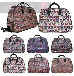 NEW LADIES BUTTERFLY OWL PRINT HOLDALL HANDLE WHEELED LUGGAG
