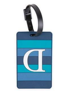 """NEW Travel-On Monogrammed Letter """"D"""" Blue PVC Luggage Tag"""