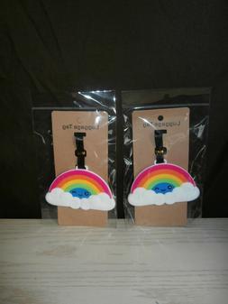 Nip-2 Piece Rainbow Luggage Tags.Bright Rainbow ID Tags.Rain