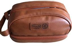 PENGUIN Men's Light Brown Faux Leather Toiletry Travel Kit C