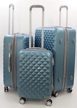 NWT SILVER BLUE ABS HARDCASE SPINNER SUITCASE LUGGAGE UPRIGH
