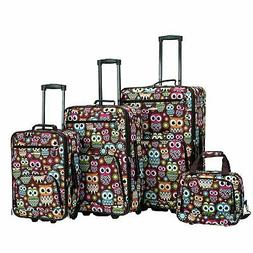 Rockland Owl 4-piece Expandable Wheeled Rolling Upright Lugg