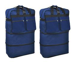 "Pack of 2, 40"" Navy Wheeled Duffel Bags Large Rolling Spinne"