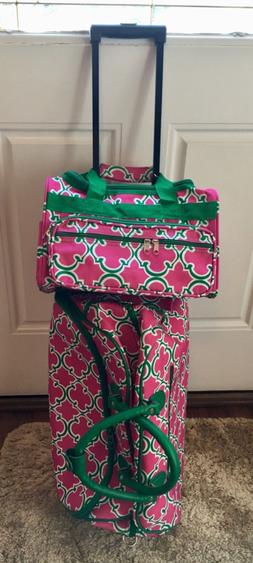 Pink and Green 2 Piece Luggage Set