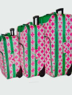 pink and green 3 piece luggage set