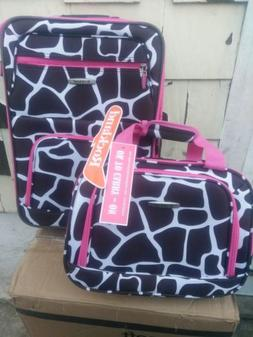 Rockland Pink Giraffe 2pc luggage set