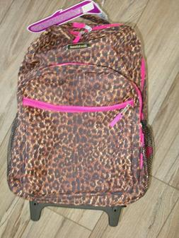 pink rolling backpack