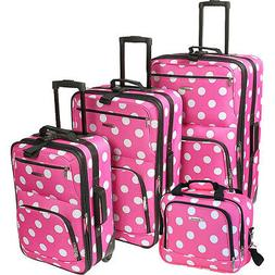 Rockland Luggage Polka Dot 4-Piece Expandable Luggage Luggag