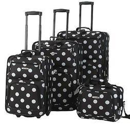 Rockland Luggage Polka Dot Expandable 4 Piece Luggage Set.