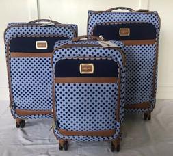 """🚨Jessica Simpson Powder Blue/Navy Dot Topia Luggage 20"""","""