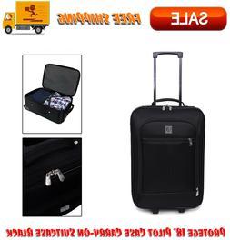 "Protege 18"" Pilot Case Carry-On Suitcase Black, Rolling Bagg"
