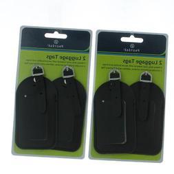 Set of 4 Protege Black Vinyl Luggage Tags Suitcase ID